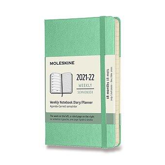 Obrázek produktu 18měsíční diář Moleskine 2021-22 - tvrdé desky - S, týdenní, sv.zelený