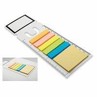 GARAN - plastová záložka s funkcí pravítka s barevnými lepicími papírky, bílá