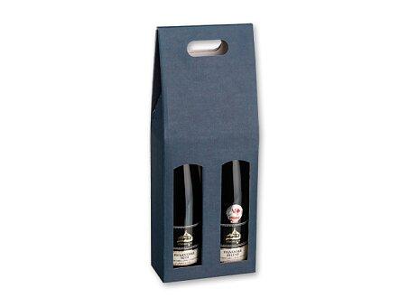 Obrázek produktu DOUBLE BOX - dárková krabice na 2 láhve vína, tmavě modrá