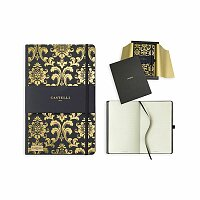 CASTELLI GOLD - poznámkový zápisník s gumičkou 130x210 mm, zlatá
