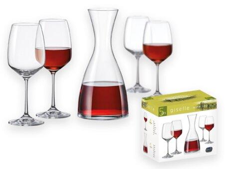 Obrázek produktu DECANTY - 5dílná skleněná sada na víno - karafa 1200 ml, sklenice 4 × 455 ml