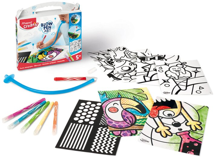 Maped Creativ Blow Pen Art – Pop Art Sada pro vytváření úžasných ilustrací pomocí foukacích fixů, které je možné kombinovat s pastelkami.