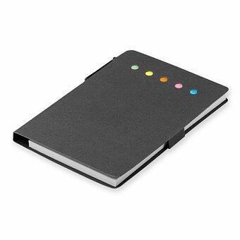 Obrázek produktu ELVA - psací blok s lepicími papírky a kuličkovým perem, výběr barev - černá