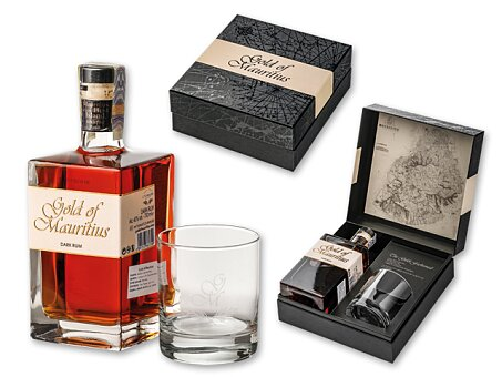 Obrázek produktu GOLD MAURITIUS - rum z Mauricia, obsah alk. 40 %, 0,7 l, dárkové balení se sklenkou