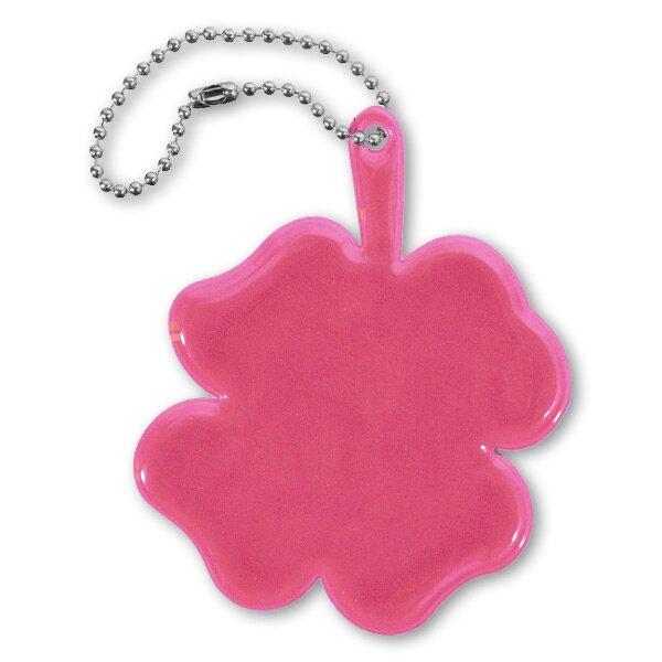 Reflexní přívěsek čtyřlístek růžový