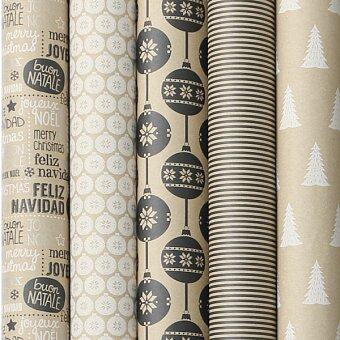 Obrázek produktu Dárkový balicí papír Cosy Black and White - 2 x 0,7 m, mix motivů