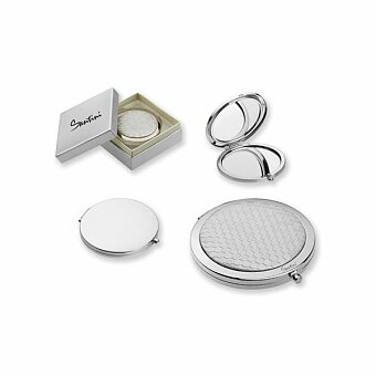Obrázek produktu SANTINI MARGARET - kovové kapesní zrcátko v dárkové krabičce, stříbrná