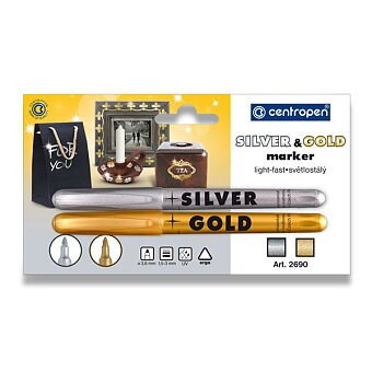 Obrázek produktu Popisovač Centropen 2690 B Gold & Silver - zlatý a stříbrný