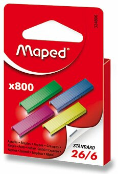 Obrázek produktu Barevné drátky do sešívačky Maped 26/6 - 800 ks, na 20 listů