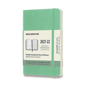 Obrázek produktu 18měsíční diář Moleskine 2021-22 - měkké desky - S, týdenní, sv.zelený