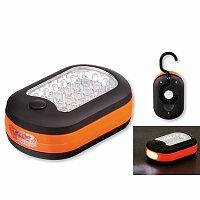 CAMPER - plastová 27 LED svítilna se závěsným háčkem a magnetem, oranžová