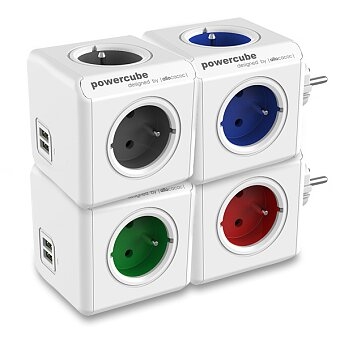 Obrázek produktu Rozbočovací zásuvka PowerCube Original USB - 4 zásuvky, 2 USB porty, výběr barev