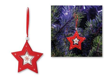 Obrázek produktu STAR CHARM - vánoční závěsná ozdoba ze dřeva, hvězda, červená