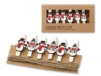 COLIQI - dřevěné kolíčky, 6 ks, sněhuláci