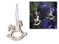 NAPOLI - vánoční závěsná ozdoba ze dřeva, 2 ks, houpací koník