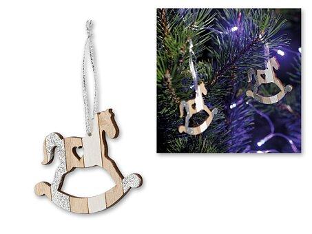Obrázek produktu NAPOLI - vánoční závěsná ozdoba ze dřeva, 2 ks, houpací koník