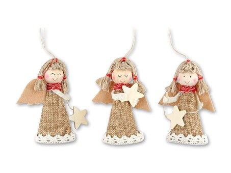 Obrázek produktu ANYELA MIX - vánoční ozdoba anděl, přírodní