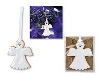 FLYWING - keramická ozdoba andílek na bílé stuze, bílá