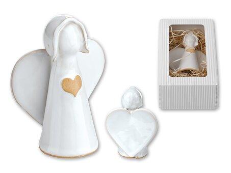 Obrázek produktu ANGELITO - keramická vánoční ozdoba andílek v dárkové krabičce, výška 13 cm, bílá