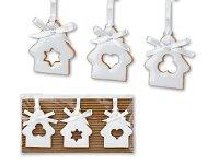 WHITE HOUSES - set 3 keramických vánočních ozdob na bílé stuze, motiv domečku, bílá