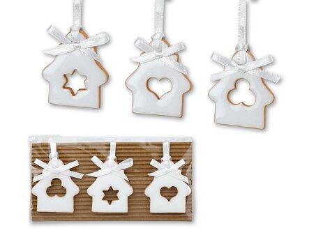 Obrázek produktu WHITE HOUSES - set 3 keramických vánočních ozdob na bílé stuze, motiv domečku, bílá