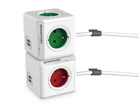 Obrázek produktu Prodlužovací přívod PowerCube Extended USB - 4 zásuvky, 2 USB porty, 1,5 m, výběr barev