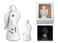 KANDELITO - keramický andílek na svíčku v dárkové krabičce, výška 20 cm, bílá