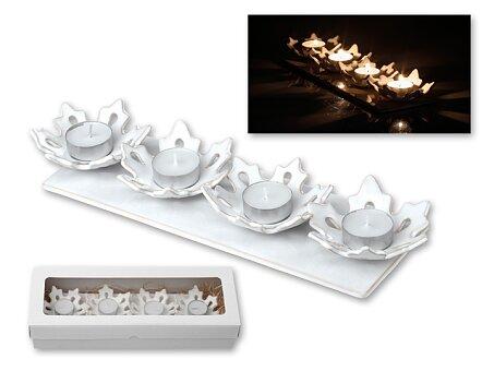 Obrázek produktu ADVENT SHINE - keramický adventní svícen v dárkové krabičce, motiv vloček, bílá