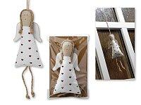 ATTARIS - textilní vánoční ozdoba anděl s keramickými křídly, bílá