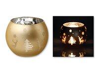 CANDELERO - skleněný vánoční svícen, zlatá