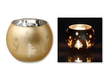 Obrázek produktu CANDELERO - skleněný vánoční svícen, zlatá