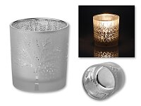 LAWINTER - skleněný vánoční svícen, stříbrná