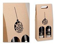 VIN BOX DUO - dárková papírová krabice na dvě vína s motivem baňky, přírodní