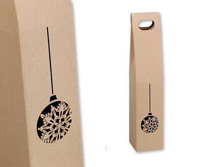 Obrázek produktu VIN BOX I - dárková papírová krabice na víno s motivem baňky, přírodní