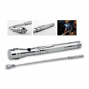 Obrázek produktu NOBEND - kovová teleskopická 3 LED svítilna s magnetem a klipem, gunmetal
