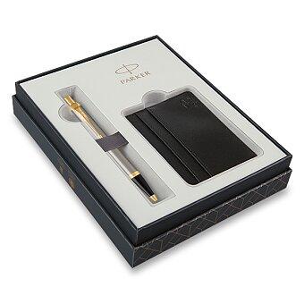 Obrázek produktu Parker IM Brushed Metal GT - kuličková tužka, dárková sada s pouzdrem na karty