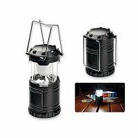 LANTERN - plastová kempinková 6 LED svítilna s kovovými úchyty, černá