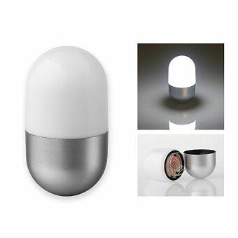 Obrázek produktu CAPSULE - plastová 5 LED svítilna ve tvaru kapsle, stříbrná