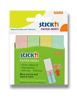 Obrázek produktu Samolepicí záložky Hopax Stick'n Notes - 50 x 12 mm, 4 x 100 listů, pastelové