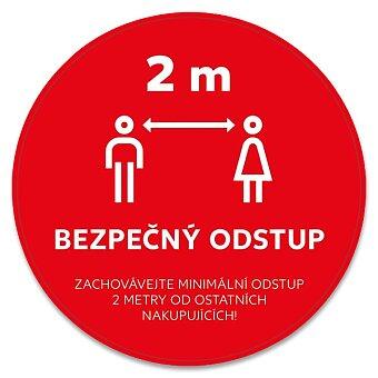 Obrázek produktu Podlahová etiketa BEZPEČNÝ ODSTUP - průměr 33 cm, 3 ks