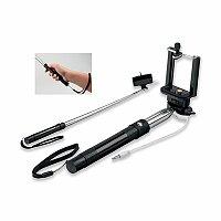 SELFIE - teleskopická selfie tyč z plastu a kovu, černá