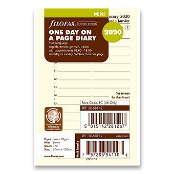 Obrázek produktu Denní kalendář 2020, 4 jazyky - náplň mini diářů Filofax