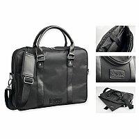 SANTINI JADEN - nylonová taška na notebook, 420D + PU, černá