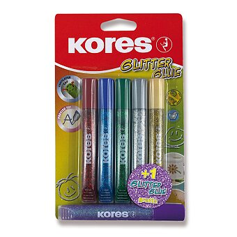 Obrázek produktu Dekorační lepidlo Kores Glitter Glue - 5 + 1 zdarma, metalické barvy