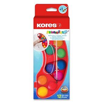 Obrázek produktu Vodové barvy Kores Akuarellos - 12 barev, průměr 30 mm