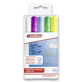 Obrázek produktu Popisovač na sklo a skleněné tabule Edding 90 - sada 5 barev