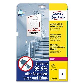 Obrázek produktu Antimikrobiální etikety Avery Zweckform - 10 archů A4, bílé