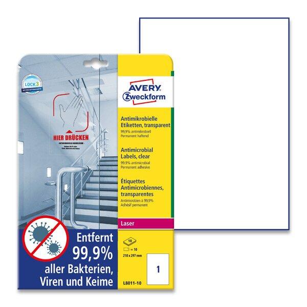 čiré antimikrobilální etikety