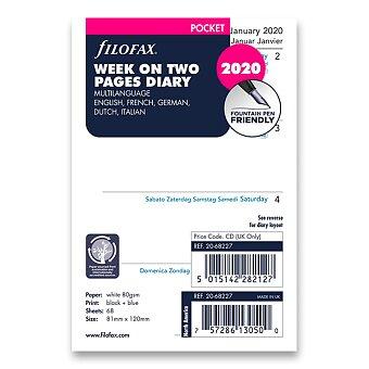 Obrázek produktu Týdenní kalendář 2020, 5 jazyků - náplň kapesních diářů Filofax