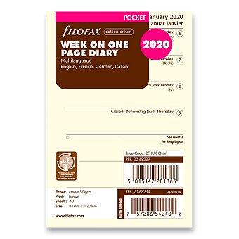 Obrázek produktu Týdenní kalendář 2020, 4 jazyky - náplň kapesních diářů Filofax